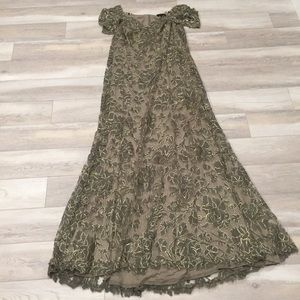 Tadashi Olive Green Gold Lace Formal Gown Sz18